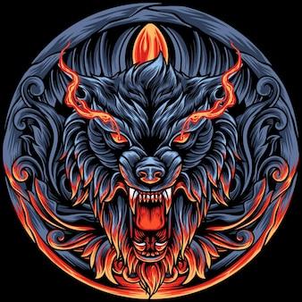 Cabeça de lobo com ornamentos