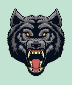 Cabeça de lobo com raiva f