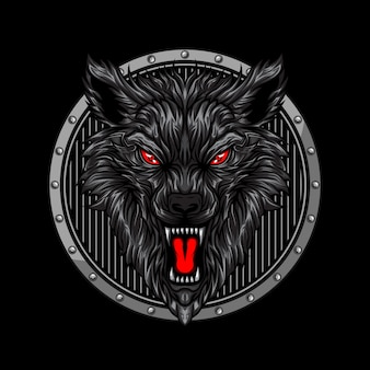 Cabeça de lobo com raiva
