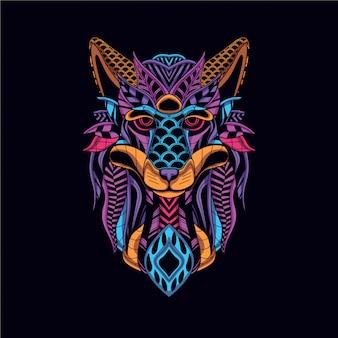 Cabeça de lobo da cor neon decorativa