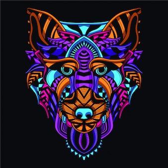 Cabeça de lobo decorativo na cor de néon de brilho