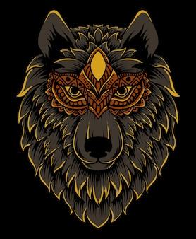 Cabeça de lobo detalhada