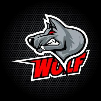 Cabeça de lobo do lado. pode ser usado para logotipo de clube ou equipe.