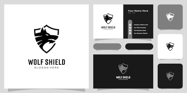 Cabeça de lobo e design de logotipo de escudo