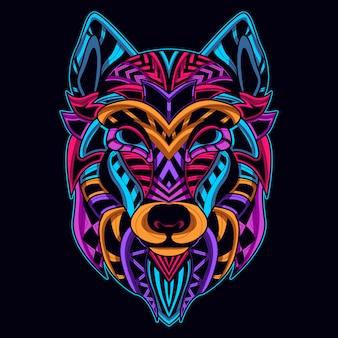 Cabeça de lobo em estilo de arte de néon cor