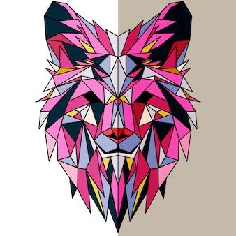 Cabeça de lobo geométrica poligonal
