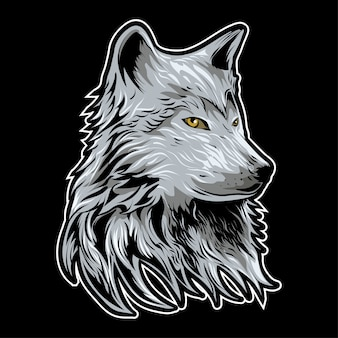 Cabeça de lobo ilustração vetorial no fundo escuro