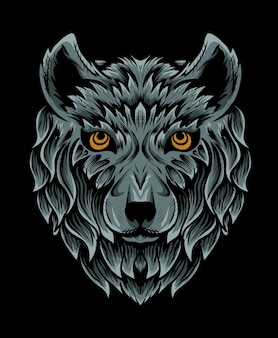 Cabeça de lobo isolada