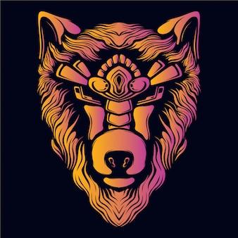 Cabeça de lobo olhos decorativos arte ilustração retrô neon cor
