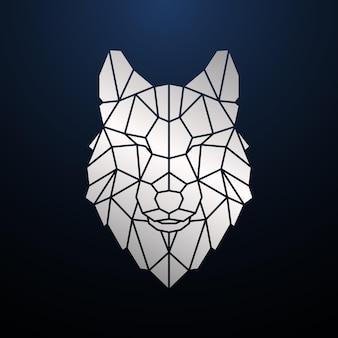 Cabeça de lobo poligonal prateada retrato geométrico de lobo