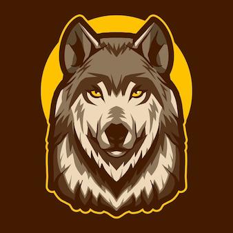 Cabeça de lobo sobre a ilustração da lua
