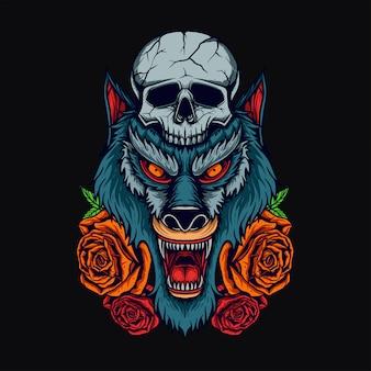 Cabeça de lobo t-shirt design
