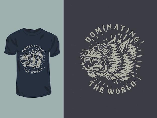 Cabeça de lobo zangada com design de t-shirt em estilo tatuagem