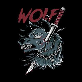 Cabeça de lobo zangado apunhalada com ilustração de espada