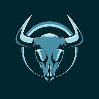 Cabeça de logotipo de mascote crânio veado simples