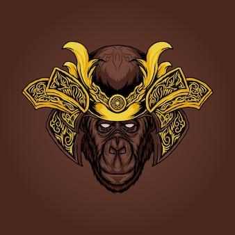 Cabeça de macaco com ilustração vetorial de samurai blindado