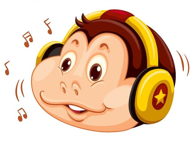 Cabeça de macaco ouvir música