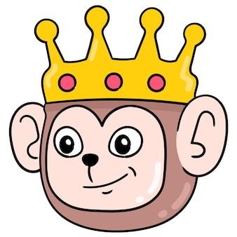 Cabeça de macaco rei usando uma coroa dourada, sorrindo, expressão amigável, emoticon de caixa de ilustração vetorial. desenho do ícone do doodle
