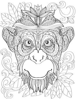 Cabeça de macaco voltada para frente com folhas de fundo linha incolor desenhando rosto grande de chimpanzé