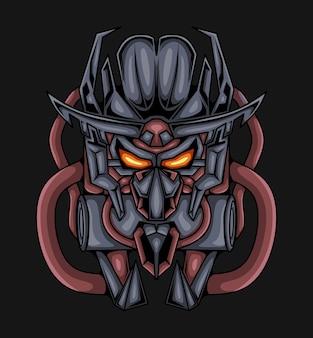 Cabeça de máscara mascote robô isolada em preto