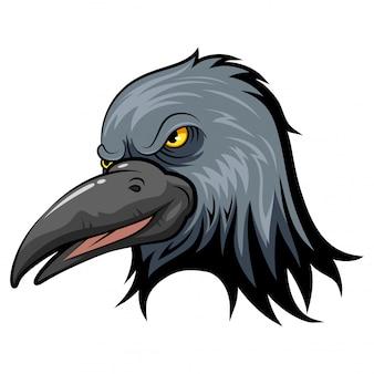 Cabeça de mascote de um corvo