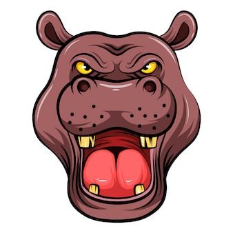 Cabeça de mascote de um hipopótamo