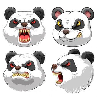 Cabeça de mascote de um panda