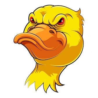 Cabeça de mascote de um pato