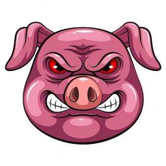 Cabeça de mascote de um porco