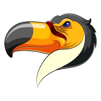 Cabeça de mascote de um tucano