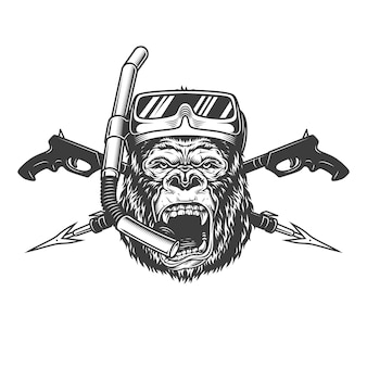 Cabeça de mergulhador vintage monocromático gorila zangado
