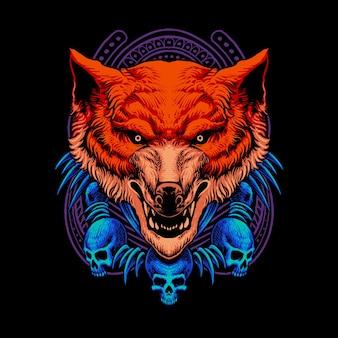 Cabeça de monstro lobo