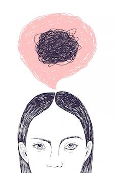 Cabeça de mulher, balão de pensamento e rabiscos dentro dela mão desenhada com linhas de contorno