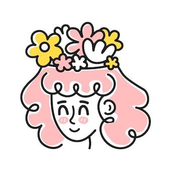 Cabeça de mulher bonita com flores dentro da cabeça. bom humor, saúde mental, conceito emocional. ícone de ilustração de personagem de desenho animado em vetor. isolado no fundo branco. menina e flores, mulher em harmonia mental