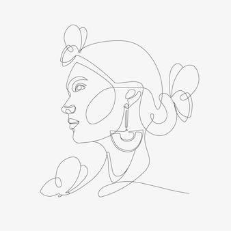 Cabeça de mulher com composição de borboletas