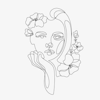 Cabeça de mulher com composição de flores ilustração em linha desenhada à mão desenho do estilo de uma linha