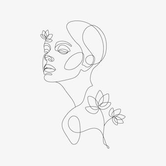 Cabeça de mulher com composição de flores