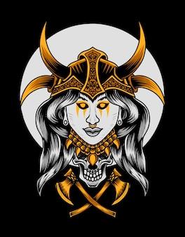 Cabeça de mulher viking