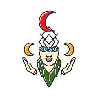 Cabeça de mulheres com lua