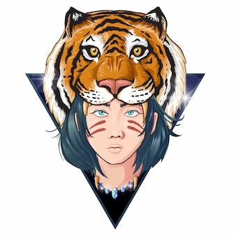 Cabeça de mulheres tigre
