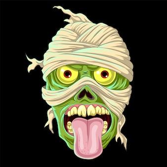 Cabeça de múmia verde assustadora de desenho animado