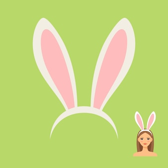 Cabeça de orelhas de coelho acessório e meninas enfrentam com ilustração vetorial de cabelo de coelho