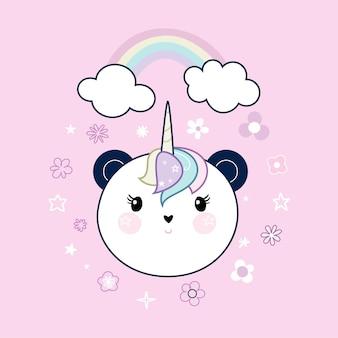 Cabeça de panda bonito e quadro com arco-íris e flores sobre fundo rosa pastel.