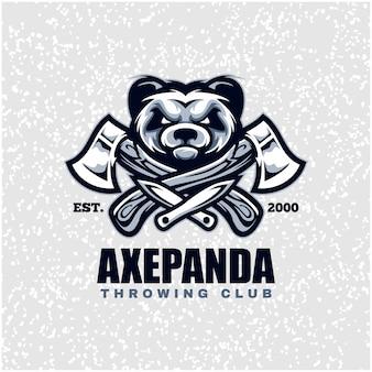 Cabeça de panda com machados e facas, logotipo do clube de arremesso.