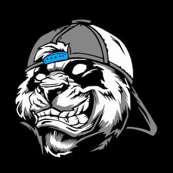 Cabeça de panda com raiva de chapéu