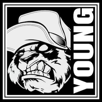 Cabeça de panda com raiva, usando um chapéu