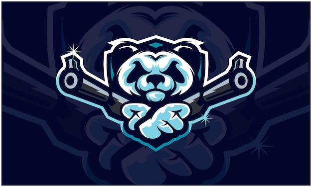 Cabeça de panda segurando duas armas, equipe tática