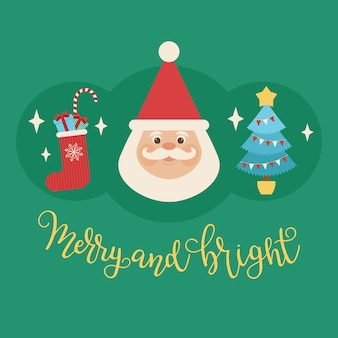 Cabeça de papai noel com árvore de natal e meia de natal