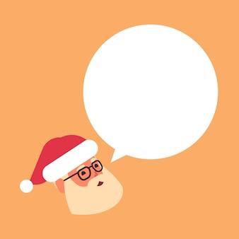 Cabeça de papai noel com bate-papo bolha discurso feliz natal feriado celebração conceito plana retrato ilustração vetorial
