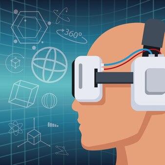 Cabeça de perfil com fone de ouvido visão de realidade virtual fundo 3d